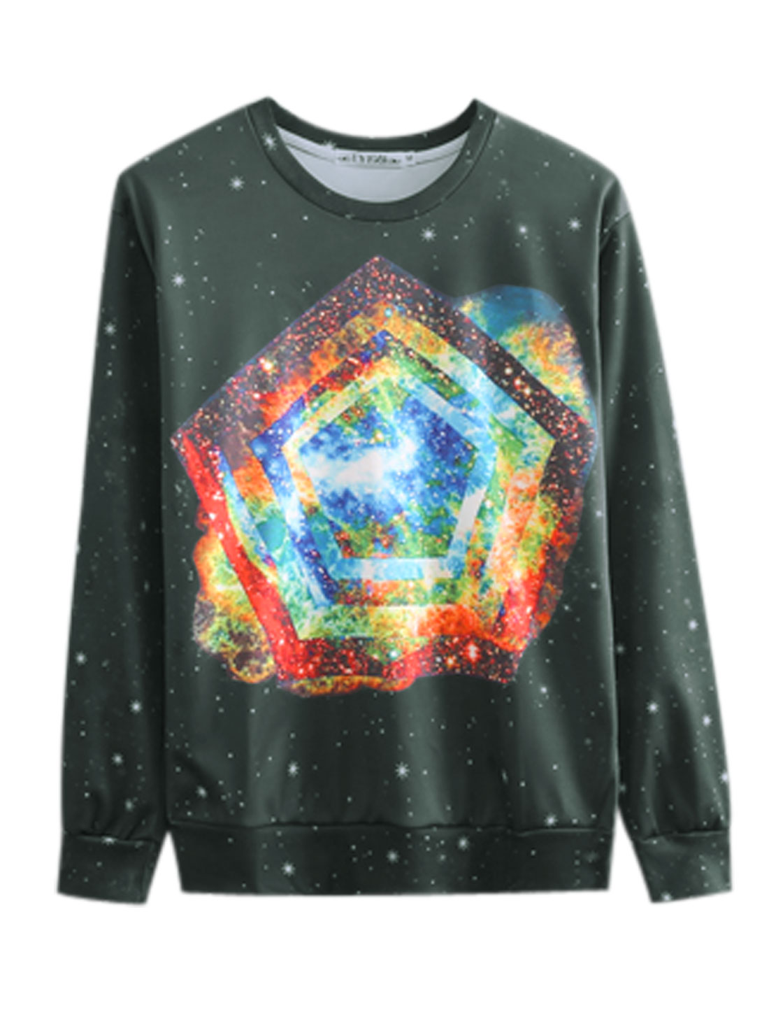 Men Black Pullover Galaxy Geometric Snowflake Prints Long Sleeves Sweatshirt M