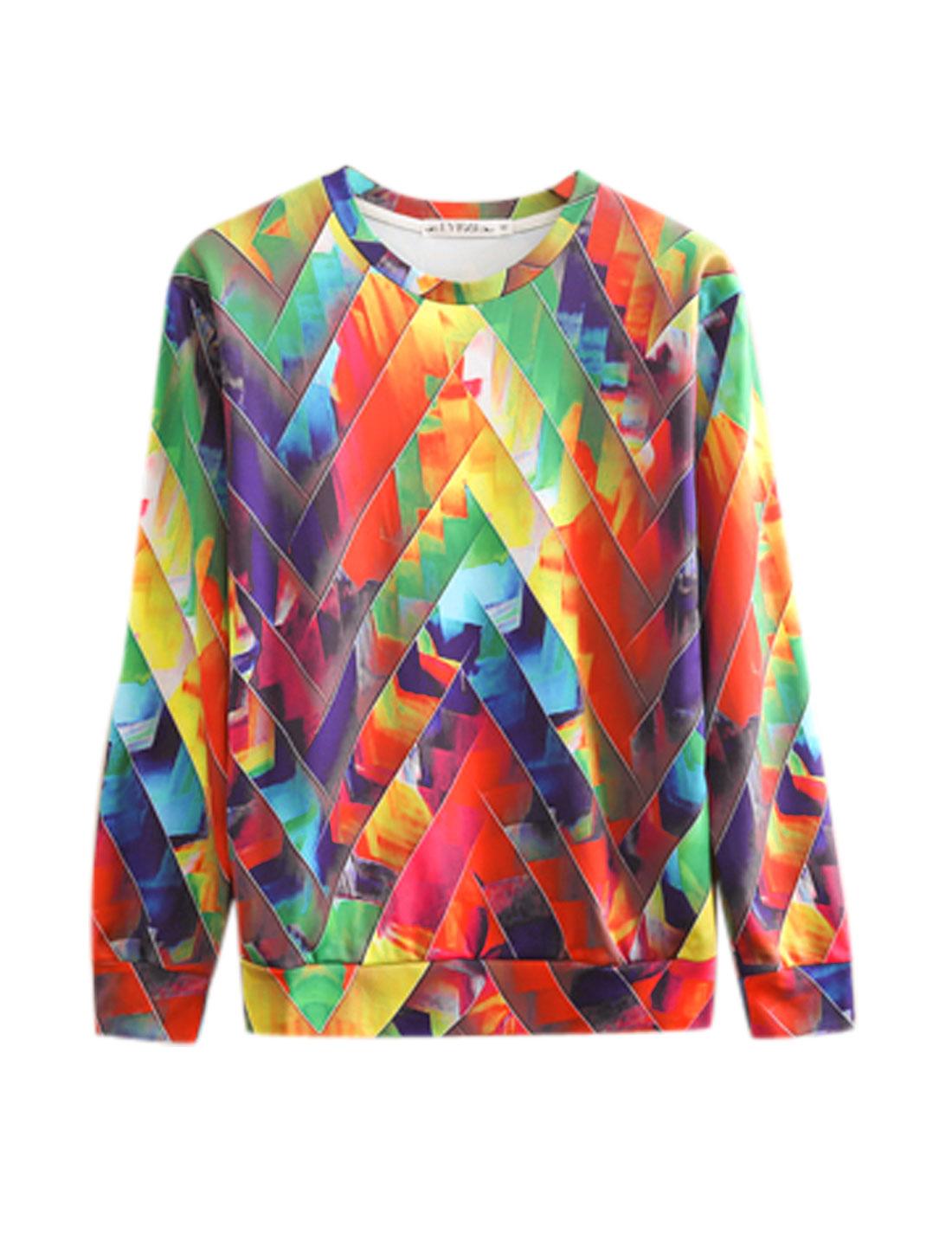 Men Multicolor Pullover Geometric Prints Long Sleeves Stylish Sweatshirt M