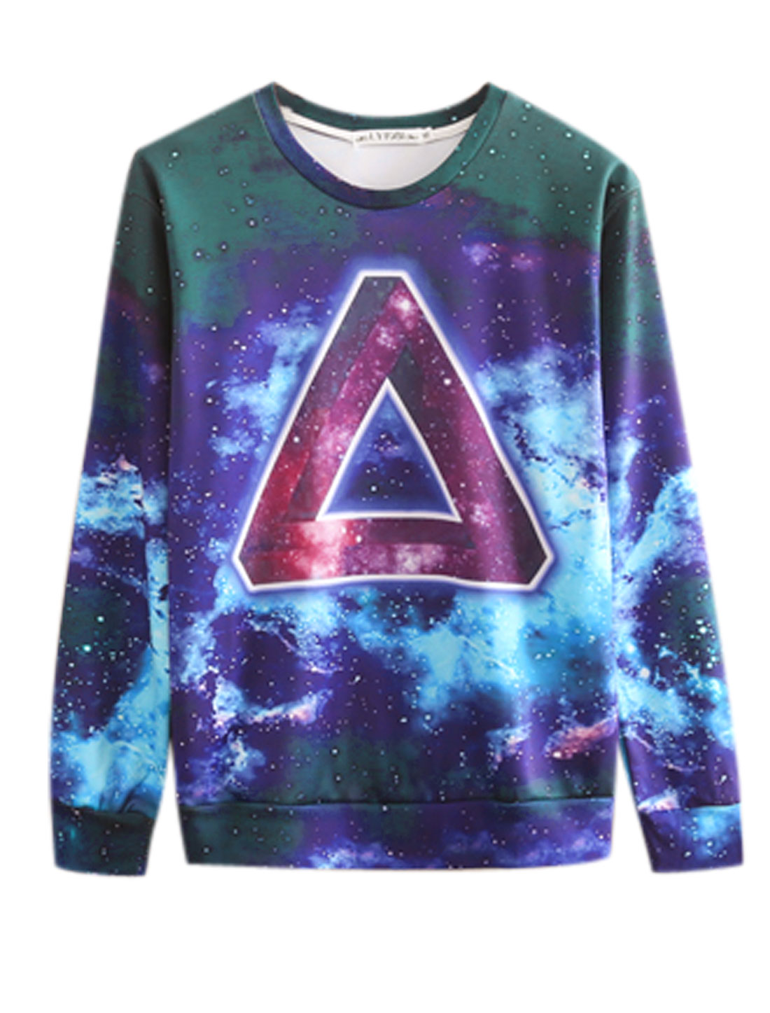 Men Long Sleeves Geometrical Galaxy Prints Chic Slipover Sweatshirt Purple M