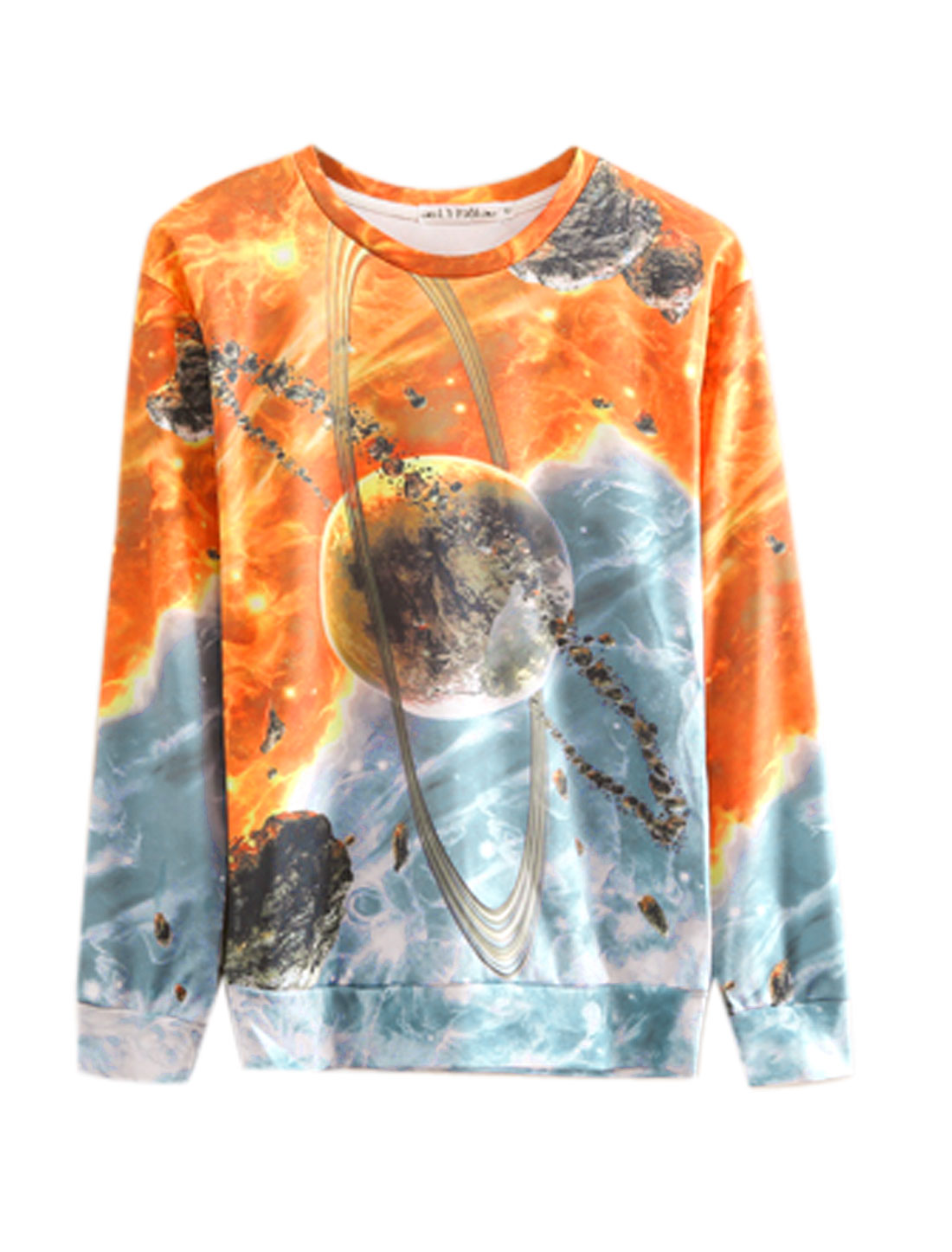 Men Gray Orange Pullover Space Prints Long Sleeves Stylish Sweatshirt M