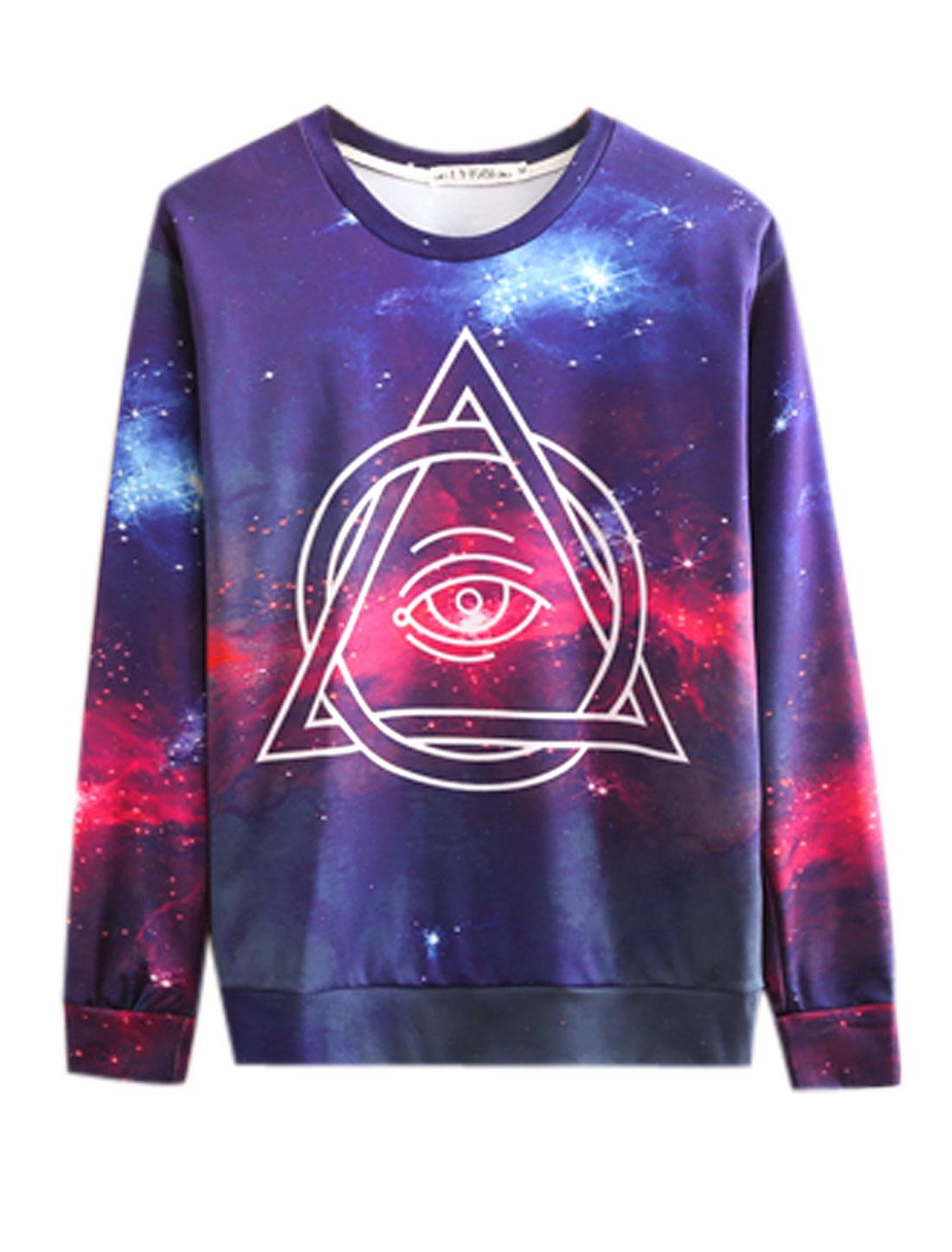 Men Round Neck Long Sleeves Geometric Prints Leisure Sweatshirt Purple M