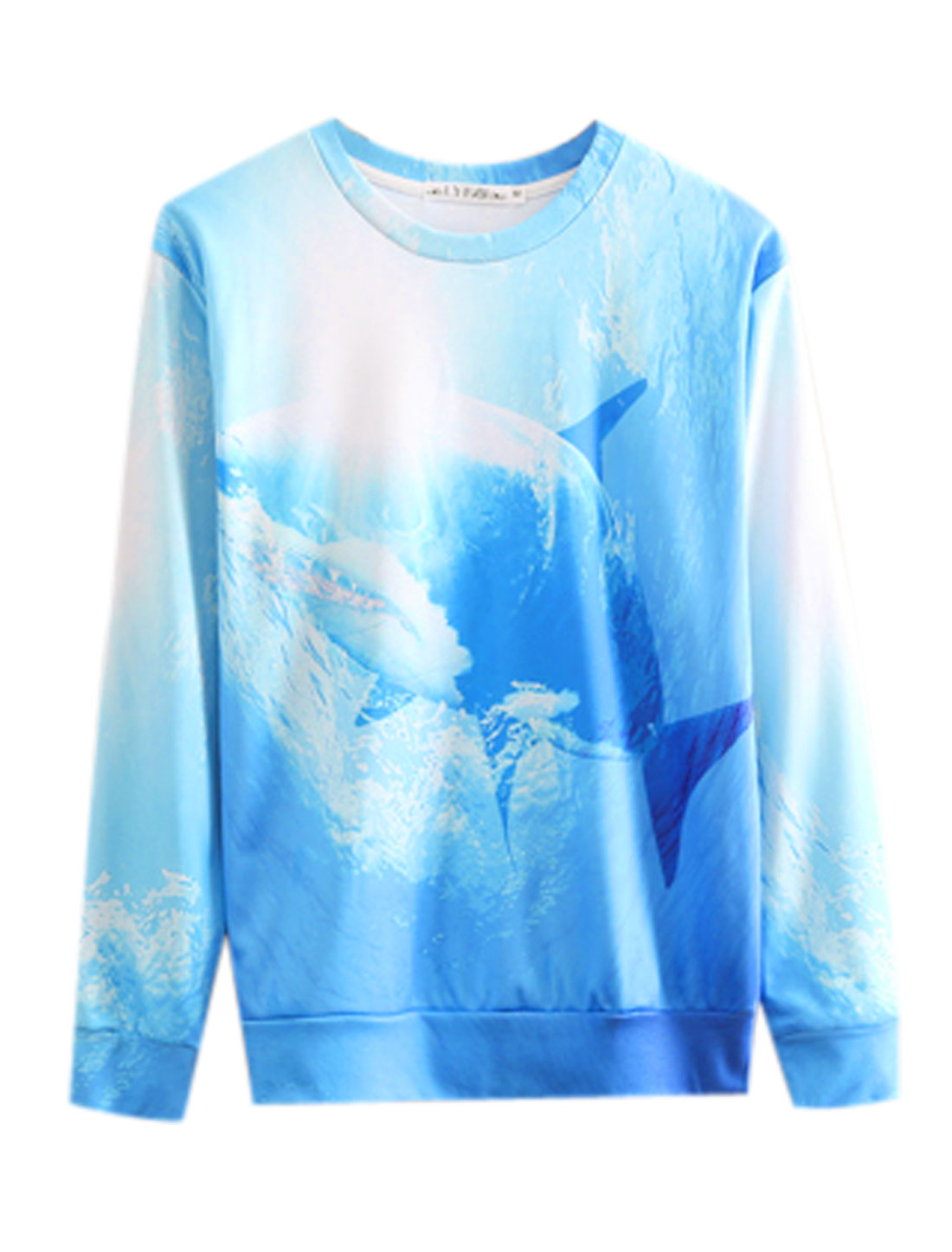 Men Round Neck Long Sleeves Shark Pattern Newly Sweatshirt Blue M