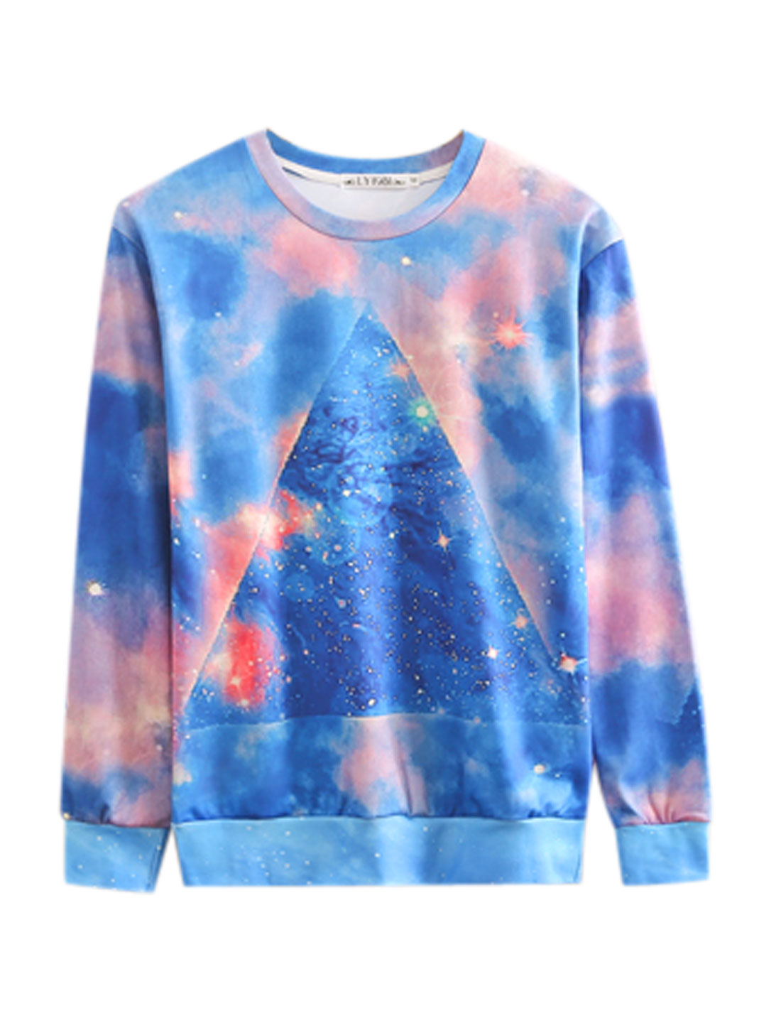 Round Neck Triangle Pattern New Style Sweatshirt for Men Blue M