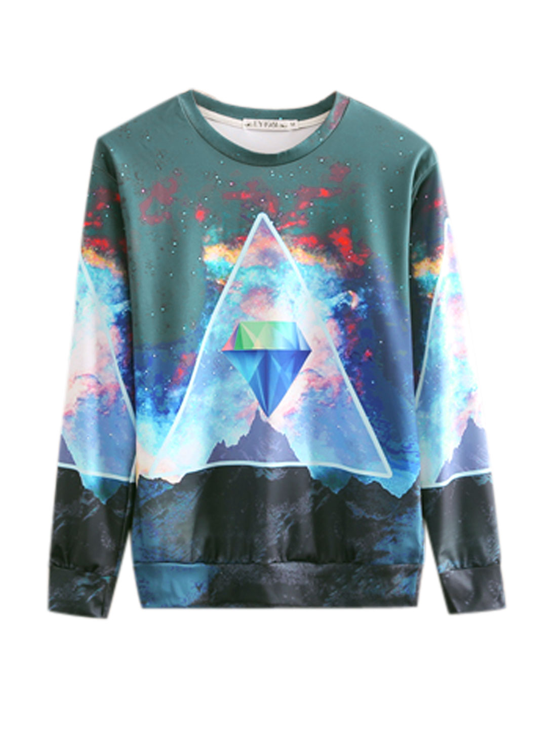 Men Dusty Blue Pullover Galaxy Mountain Geometric Prints Long Sleeves Sweatshirt M