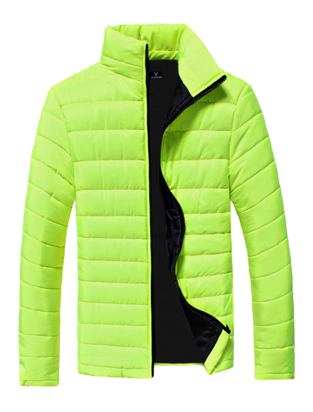 Men Green Yellow Zip Fly Zipper Pockets Slim Fit Long Sleeves Padded Coat S