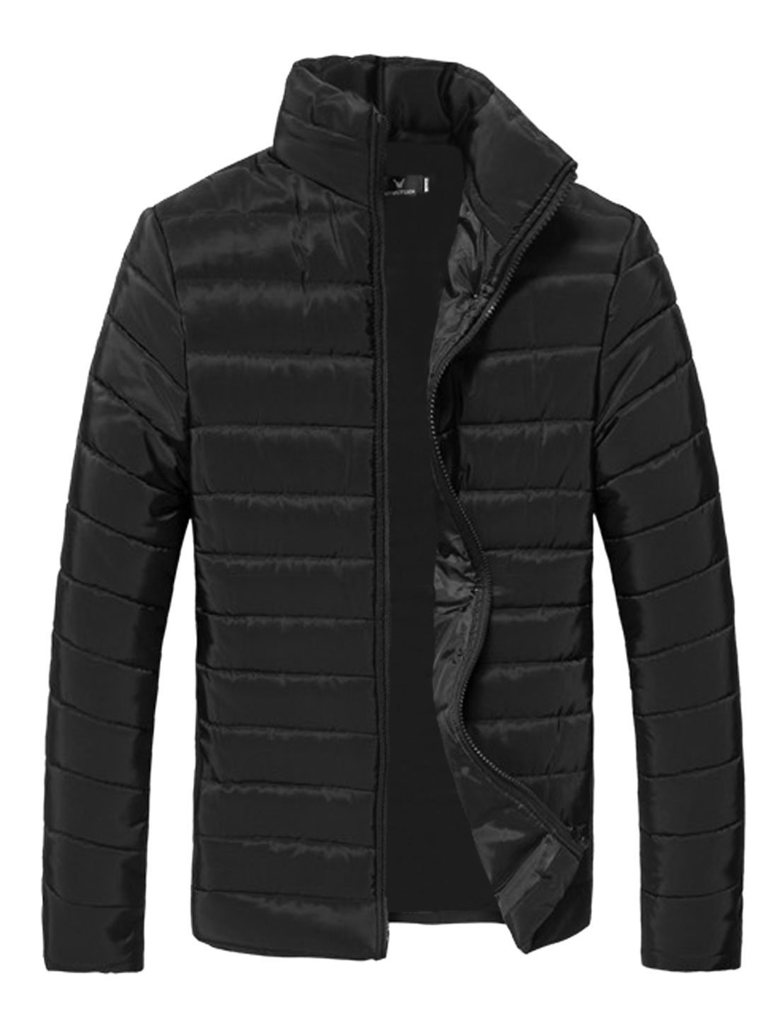 Men Black Zip Up Zipper Pockets Slim Fit Leisure Padded Coat S