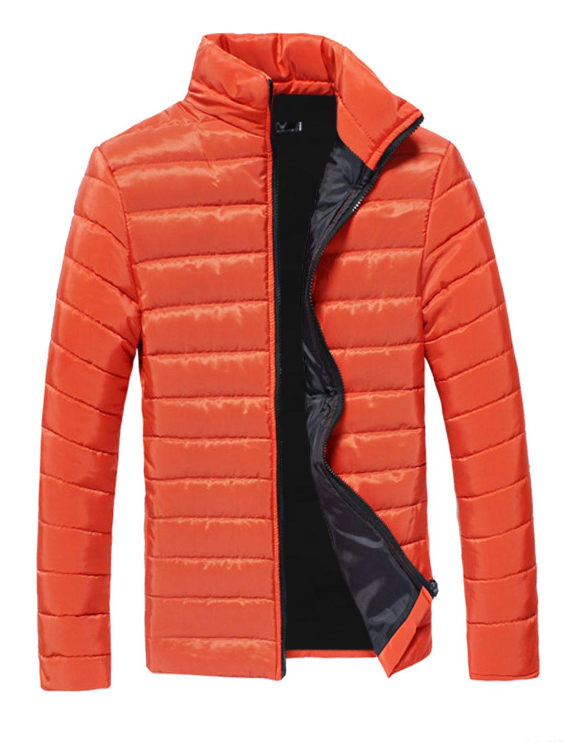 Men Orange Zip Fly Slim Fit Full Sleeves Leisure Padded Coat S