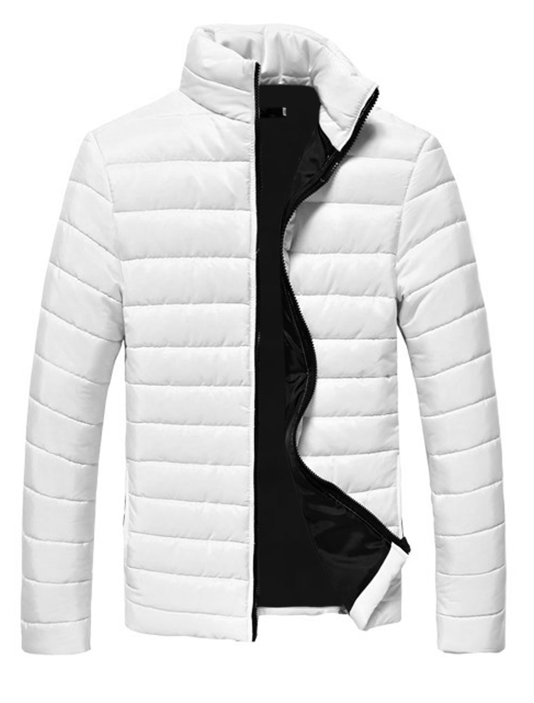 Men White Zip Closure Zipper Pockets Slim Fit Fashion Padded Coat S