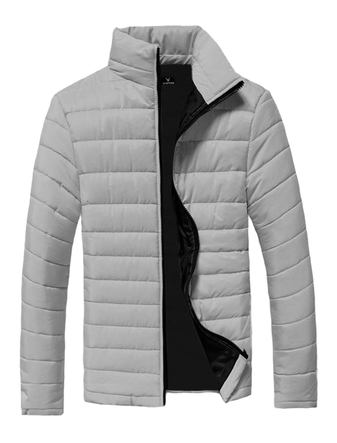 Men Gray Zip Fly Zipper Pockets Slim Cut Leisure Padded Coat S