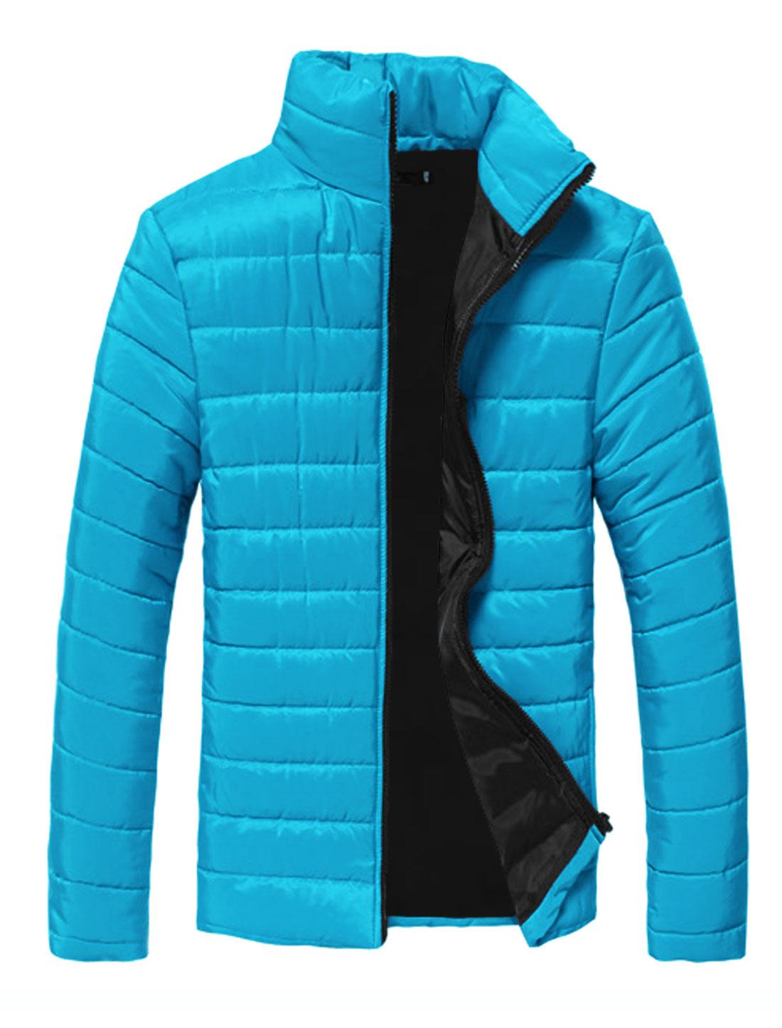 Men Blue Zip Down Zipper Pockets Slim Cut Full Sleeves Warm Padded Coat S