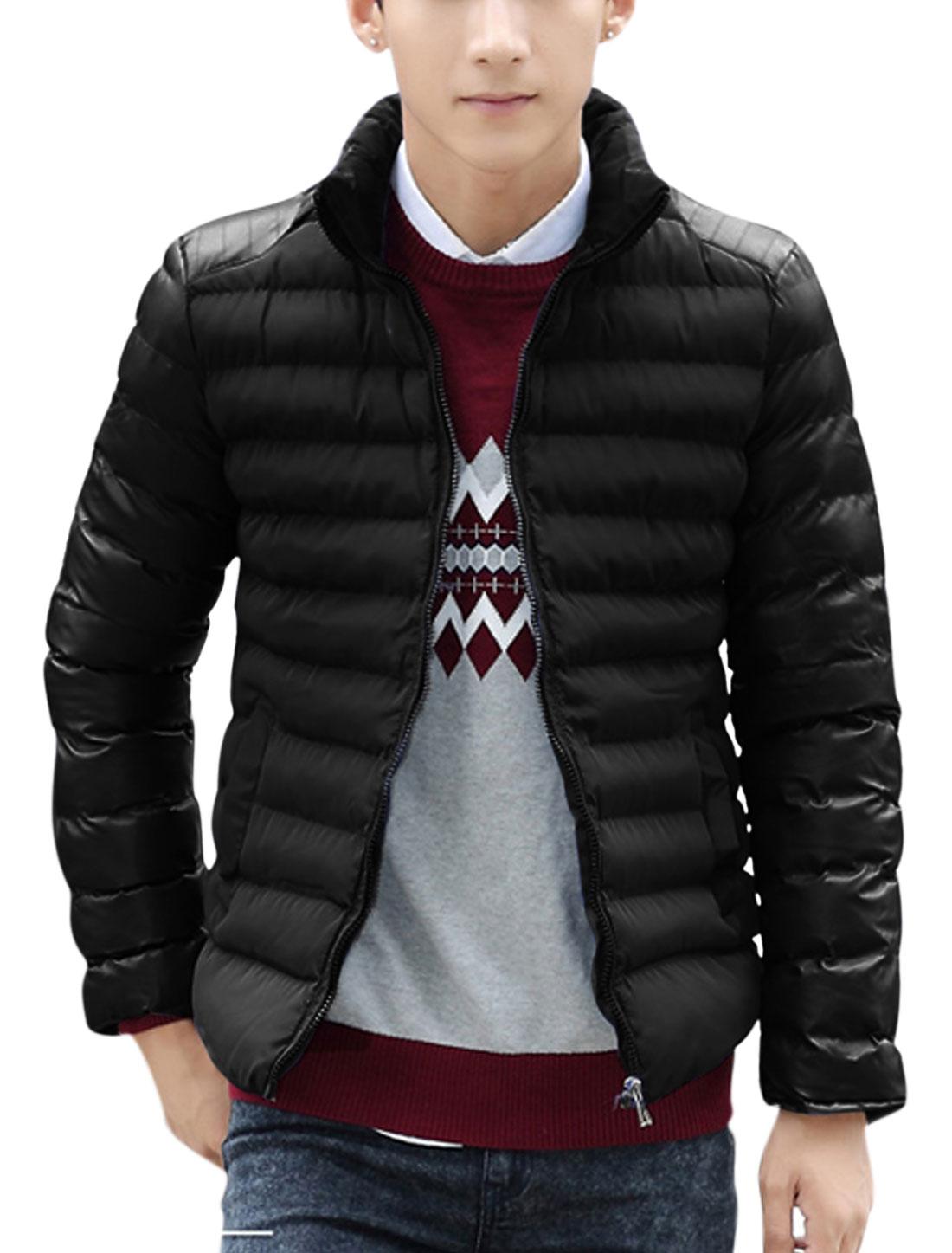 Men Black Zip Closure Front Pockets Splice Zipper Decor Casual Down Coat S