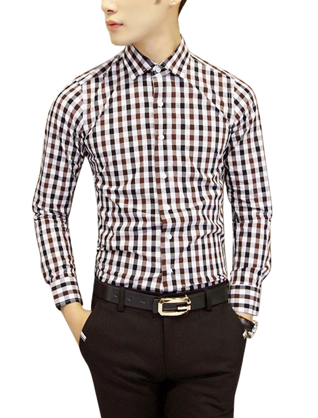 Point Collar Plaids Button Cuffs Casual Shirt for Men Brown White S