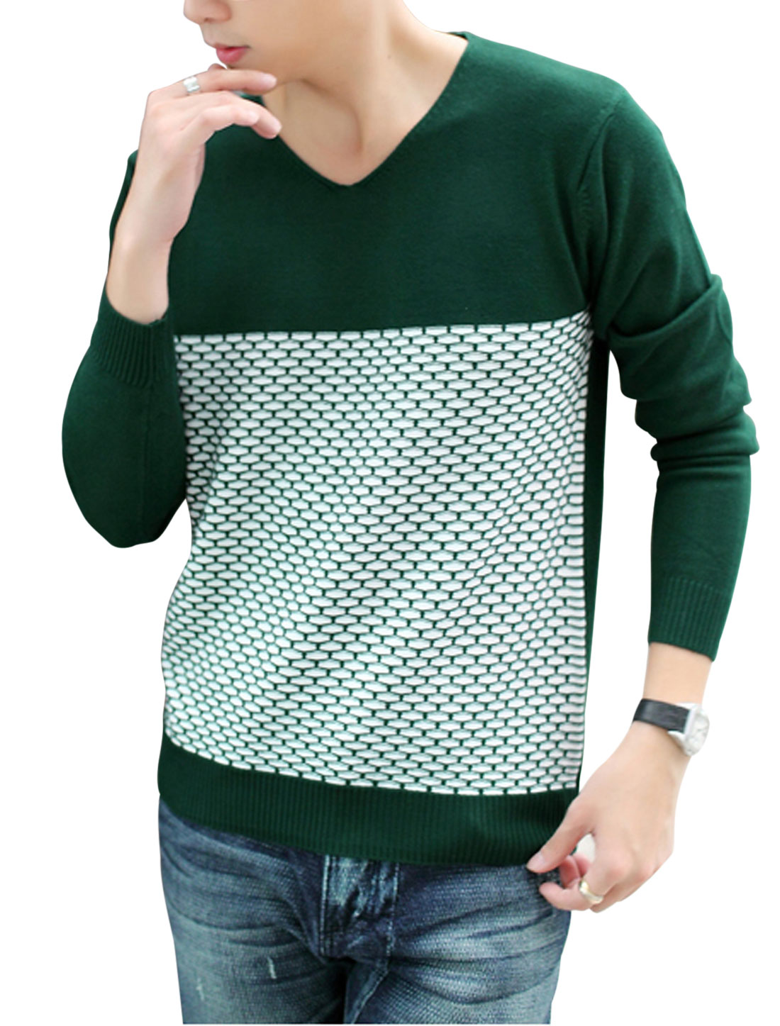 Men V Neckline Color Blocking Long Sleeves Newly Knitted Top Dark Green White M