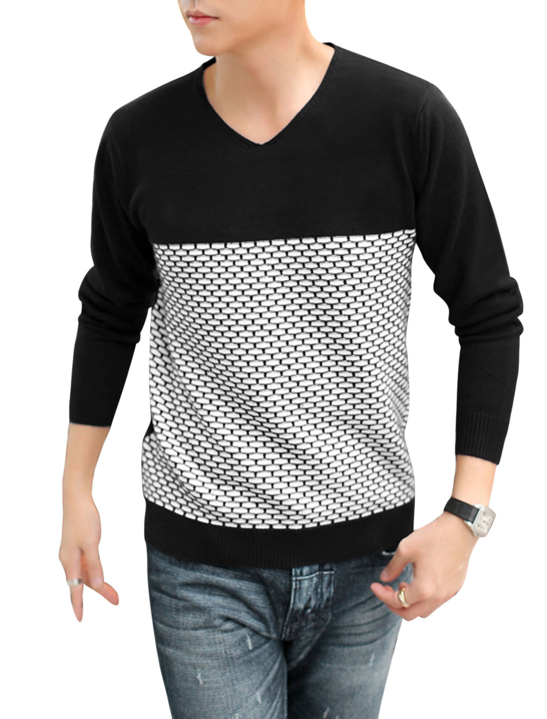 Men V Neckline Contrast Color Long Sleeves NEW Knitted Top Black White