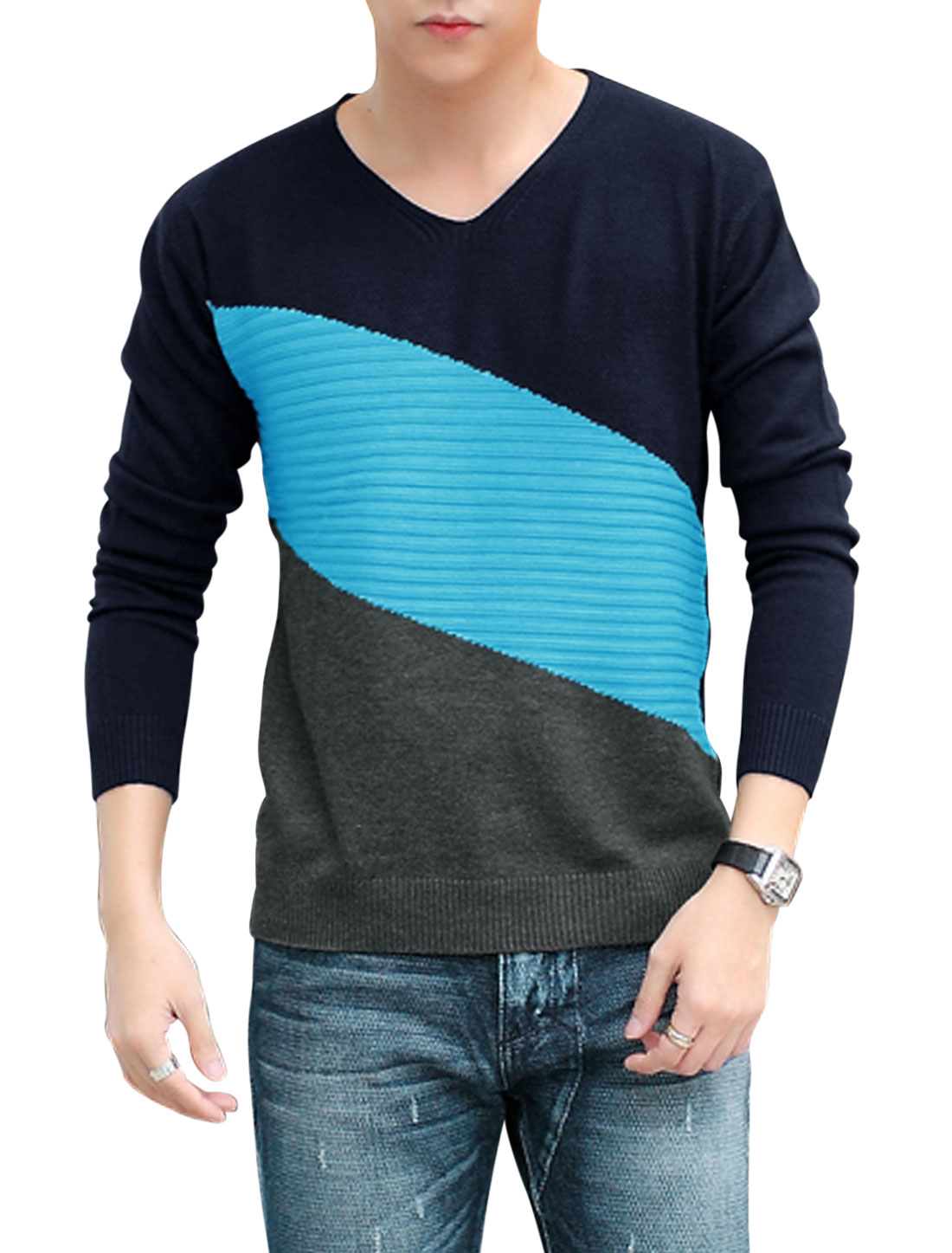 Men V Neckline Long Sleeves Contrast Color Leisure Knitted Top Navy Blue Gray M
