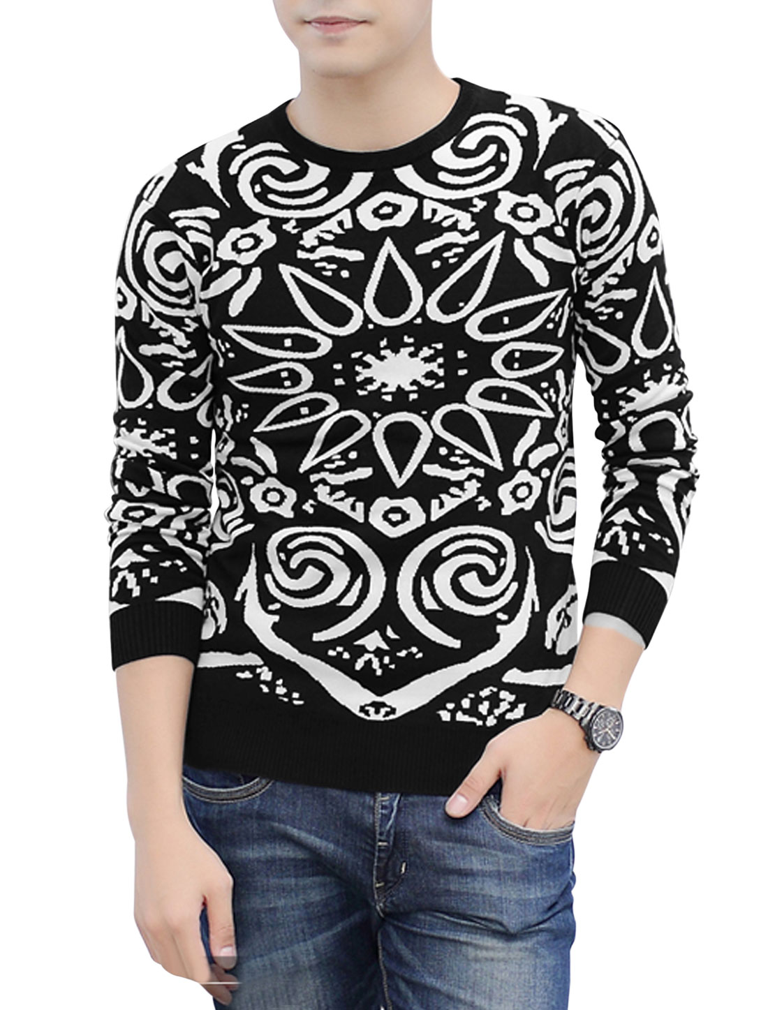 Men Round Neck Long Sleeves Novelty Prints Slipover Newly Knit Top Black White M