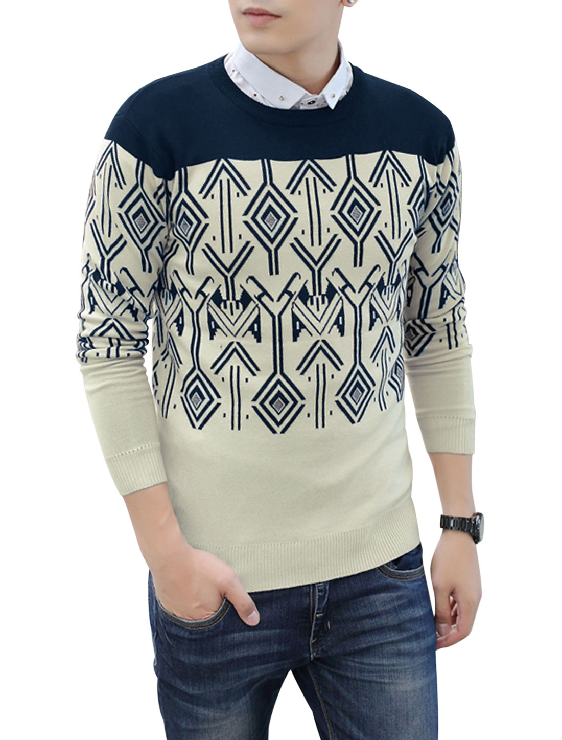 Men Round Neck Contrast Color Geometric Prints Knitted Top Navy Blue Beige M