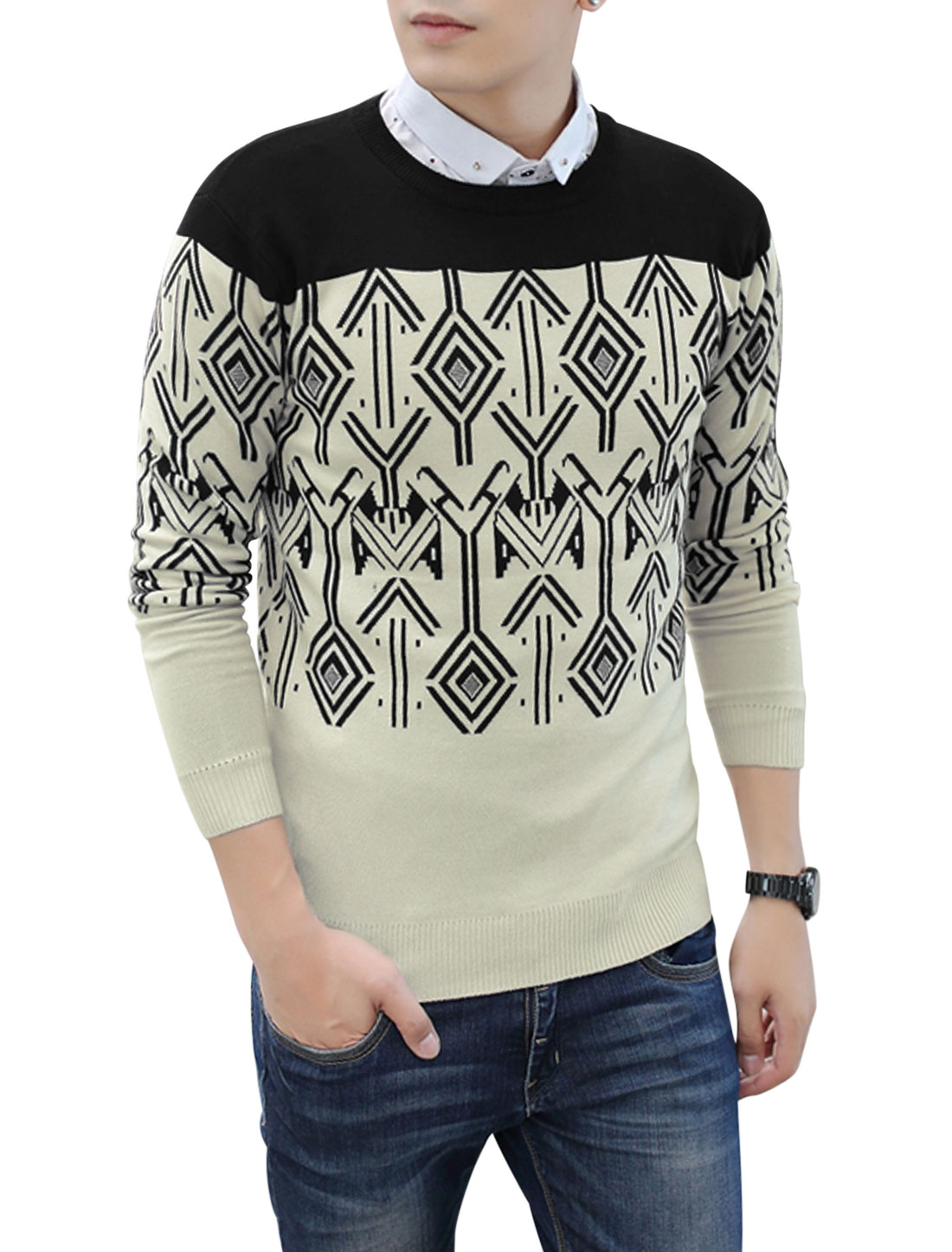 Men Round Neck Color Blocked Slipover Leisure Knitted Top Black Beige M