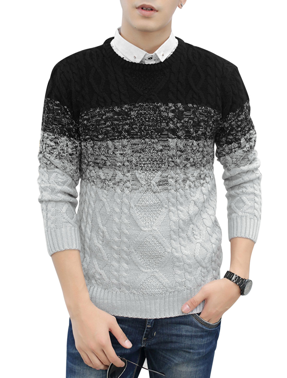 Men Round Neck Color Blocked Long Sleeves Casual Sweater Black Light Gray S