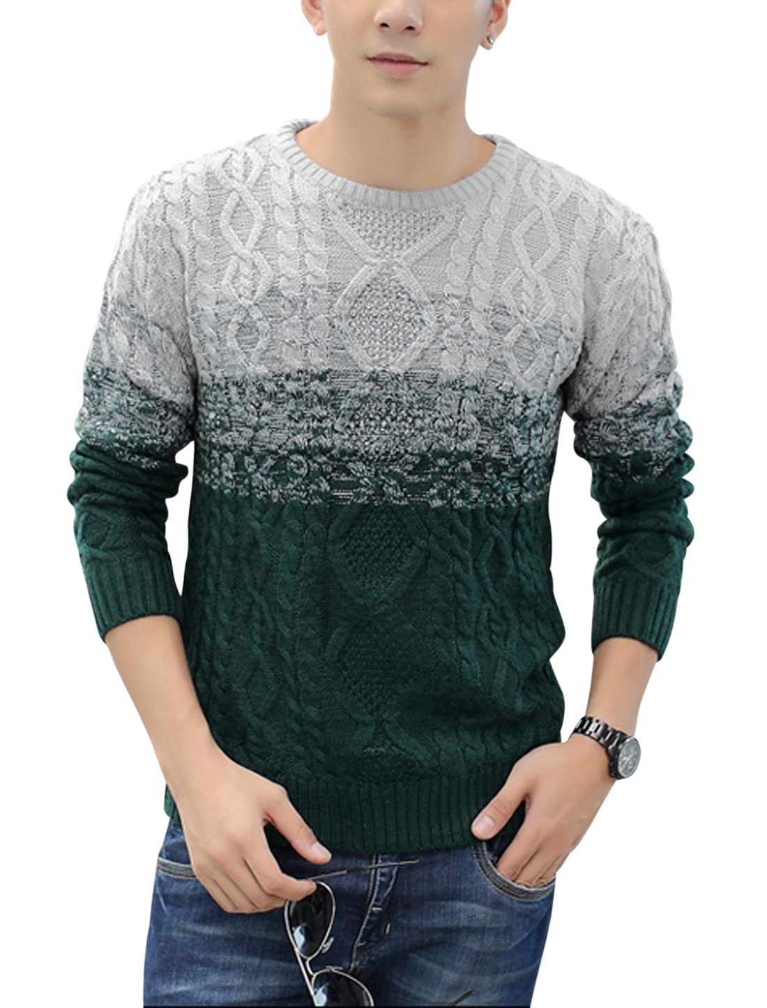Men Round Neck Contrast Color Long Sleeves NEW Sweater Light Gray Dark Green S