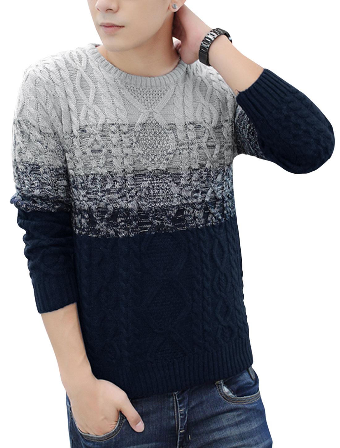 Men Round Neck Braided Design Pullover Leisure Sweater Navy Blue Light Gray S