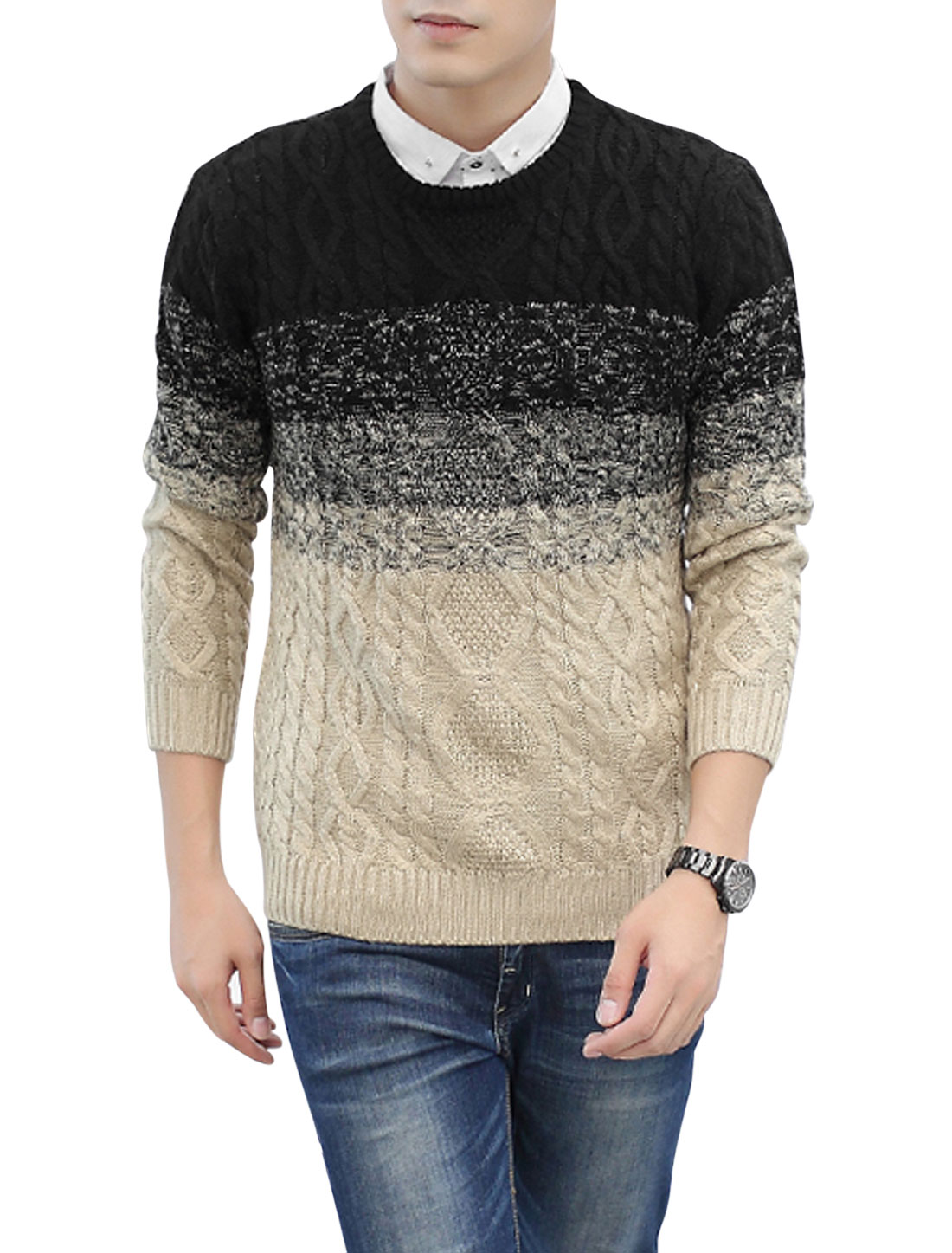 Men Round Neck Long Sleeves Pullover Leisure Sweater Black Khaki S