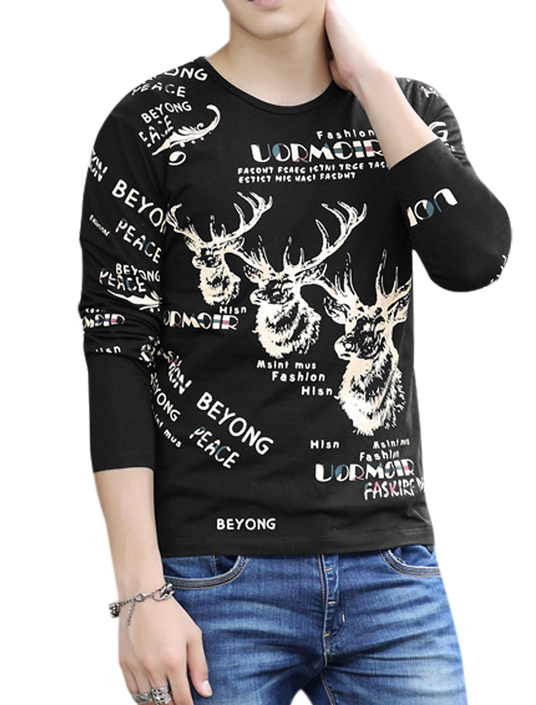 Men Round Neck Long Sleeves Letters Prints Pullover Casual T-Shirt Black M