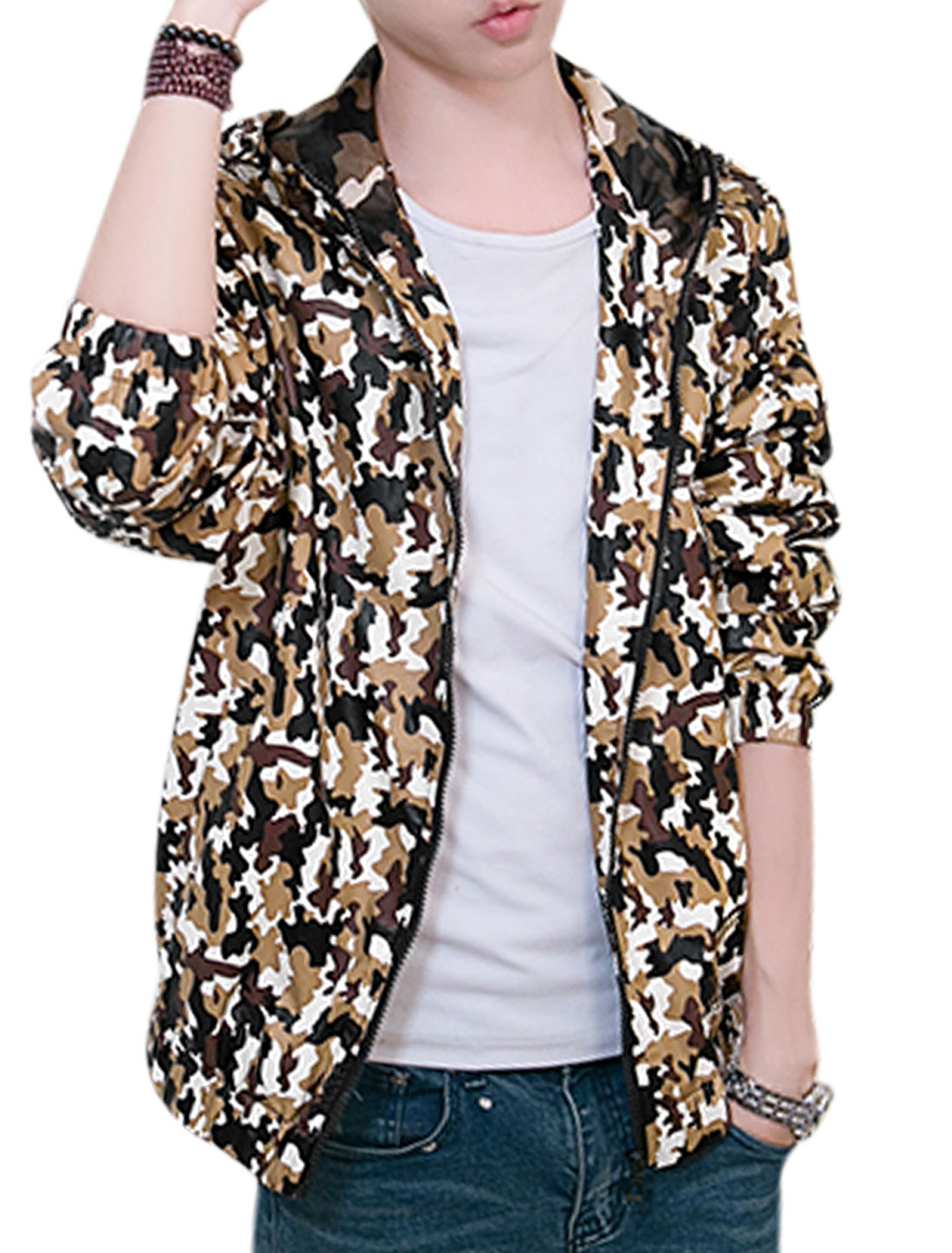 Men Long Sleeves Zip Closure Camouflage Pattern Hooded Jacket Khaki White M