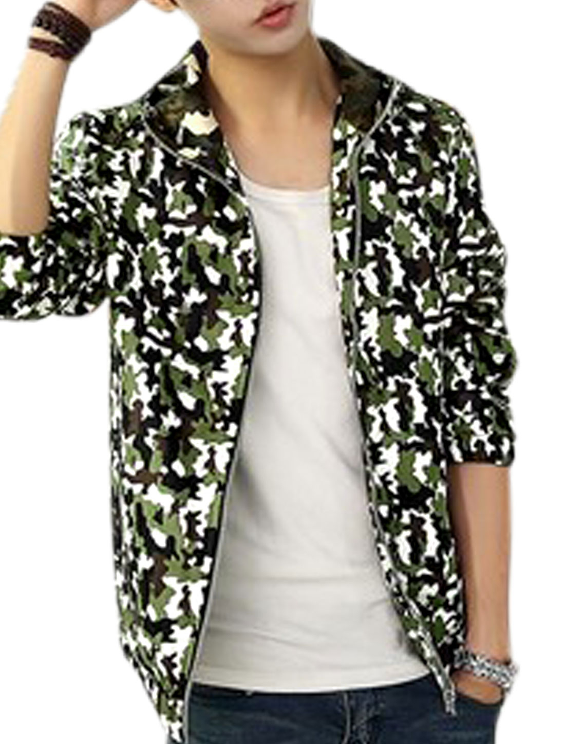 Men Zip Closed Camouflage Pattern Hooded Trendy Jacket Army Green White M