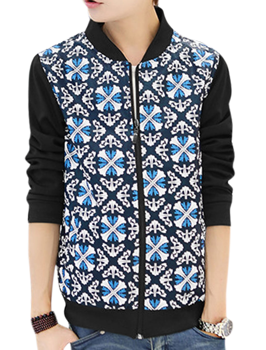 Men Stand Collar Zip Closure Cross Pattern Panel Jacket Blue White S