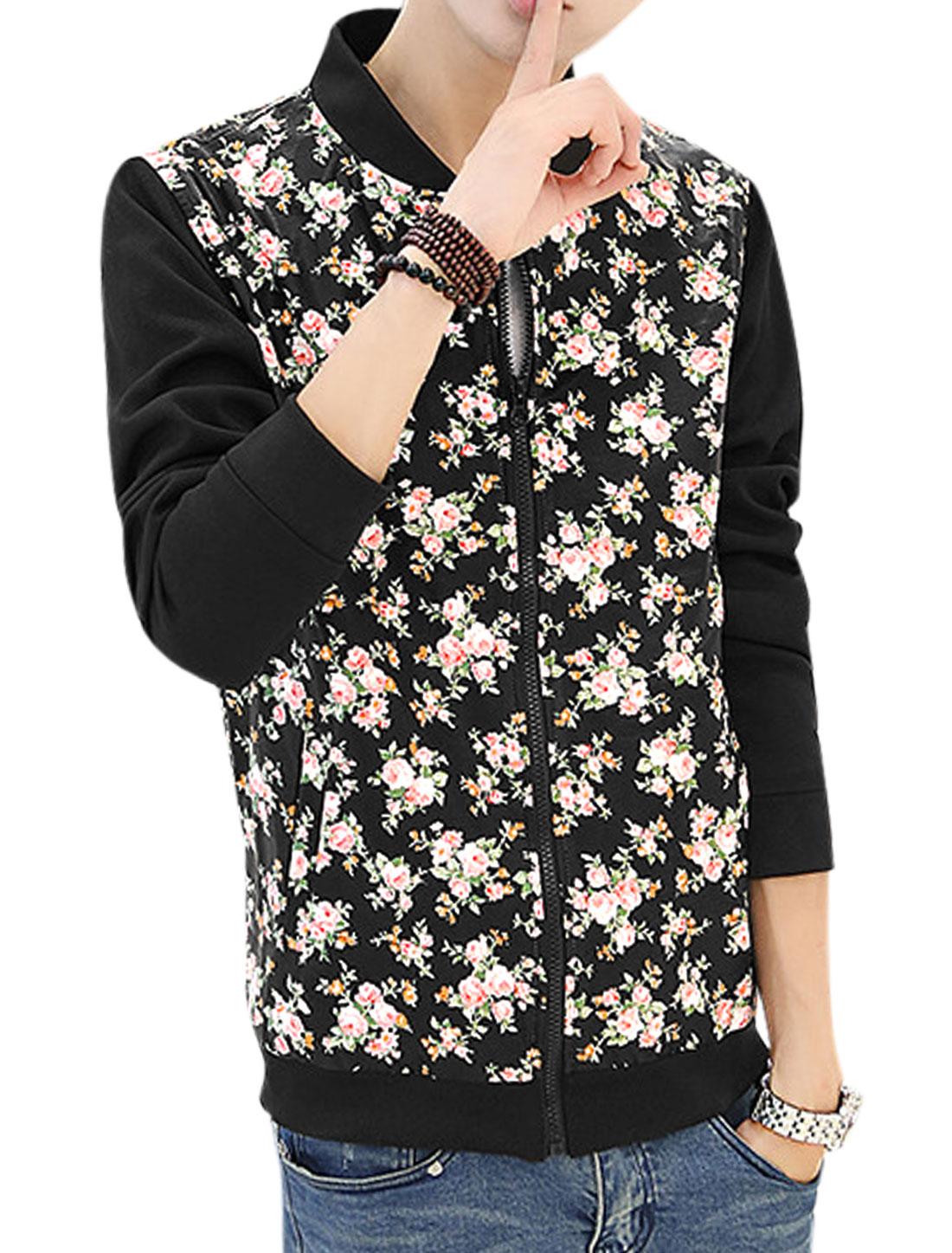 Men Stand Collar Long Sleeves Full Zip Panel Trendy Jacket Black S