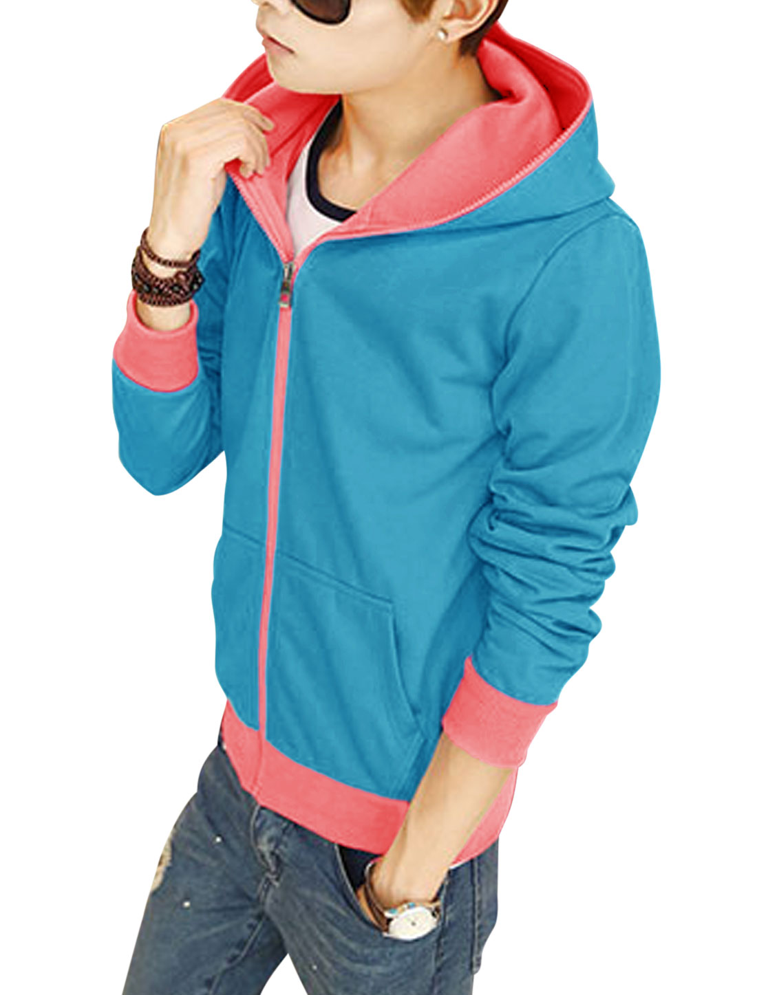 Men Contrast Color Long Sleeves Zip Up Hooded Jacket Blue Pink M