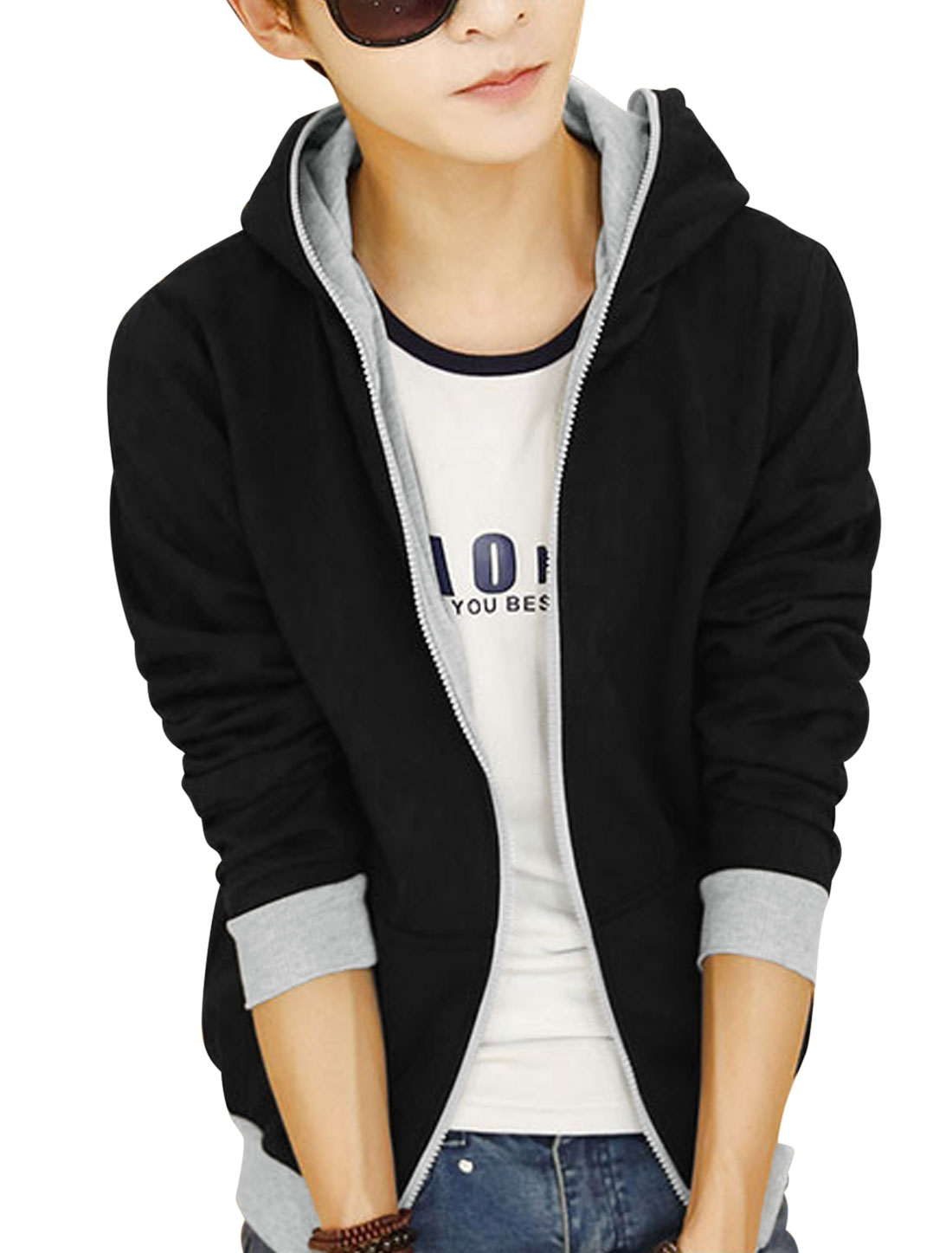 Color Blocking Two Pocket Black Light Gray Hooded Jacket for Men M