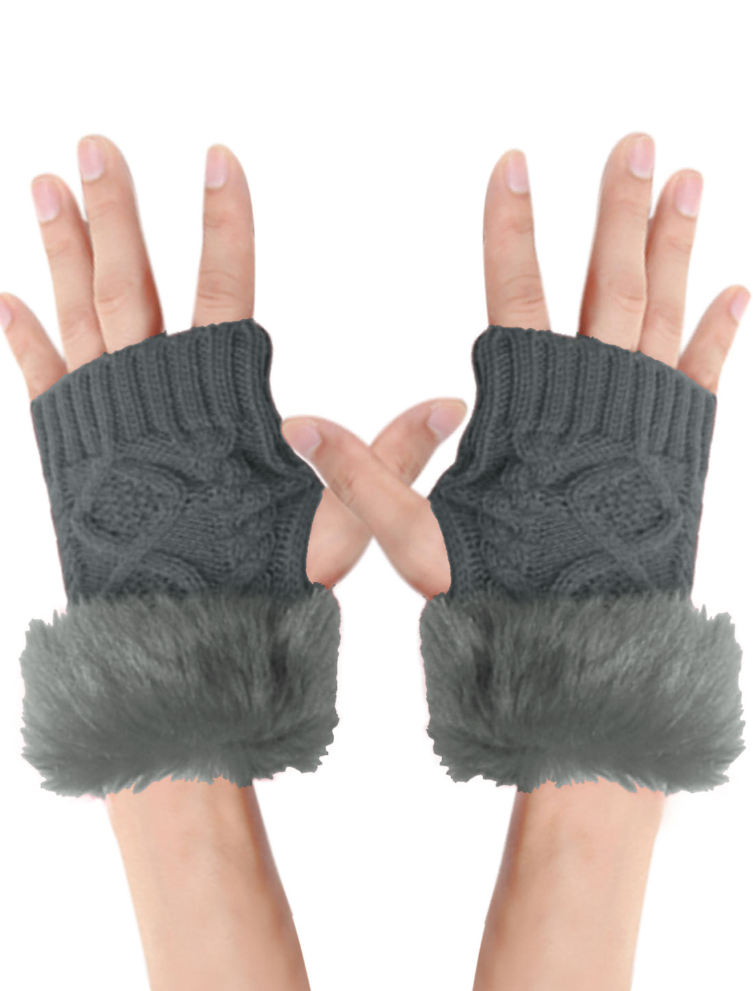 Men Gray Fingerless Braided Design Winter Warmer Knitted Gloves