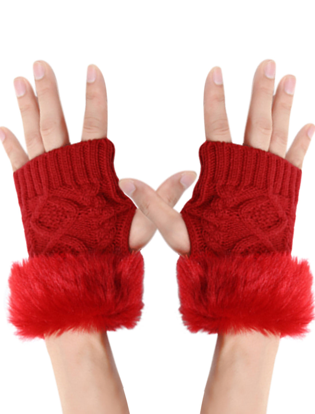 Men Red Half Fingers Braided Design Winter Warmer Knitted Gloves