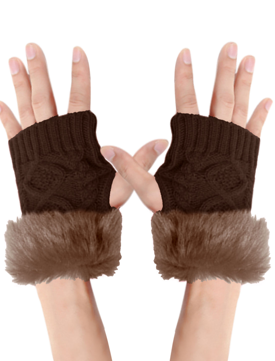 Men Brown Braided Design Plush Deocr Winter Comfortable Knitted Gloves