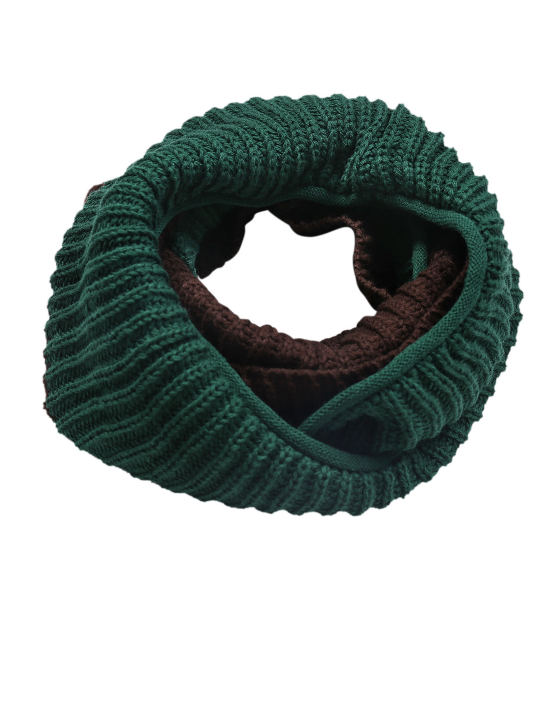 Color Blocking Knitted Leisure Neck Warmer for Men Green Coffee