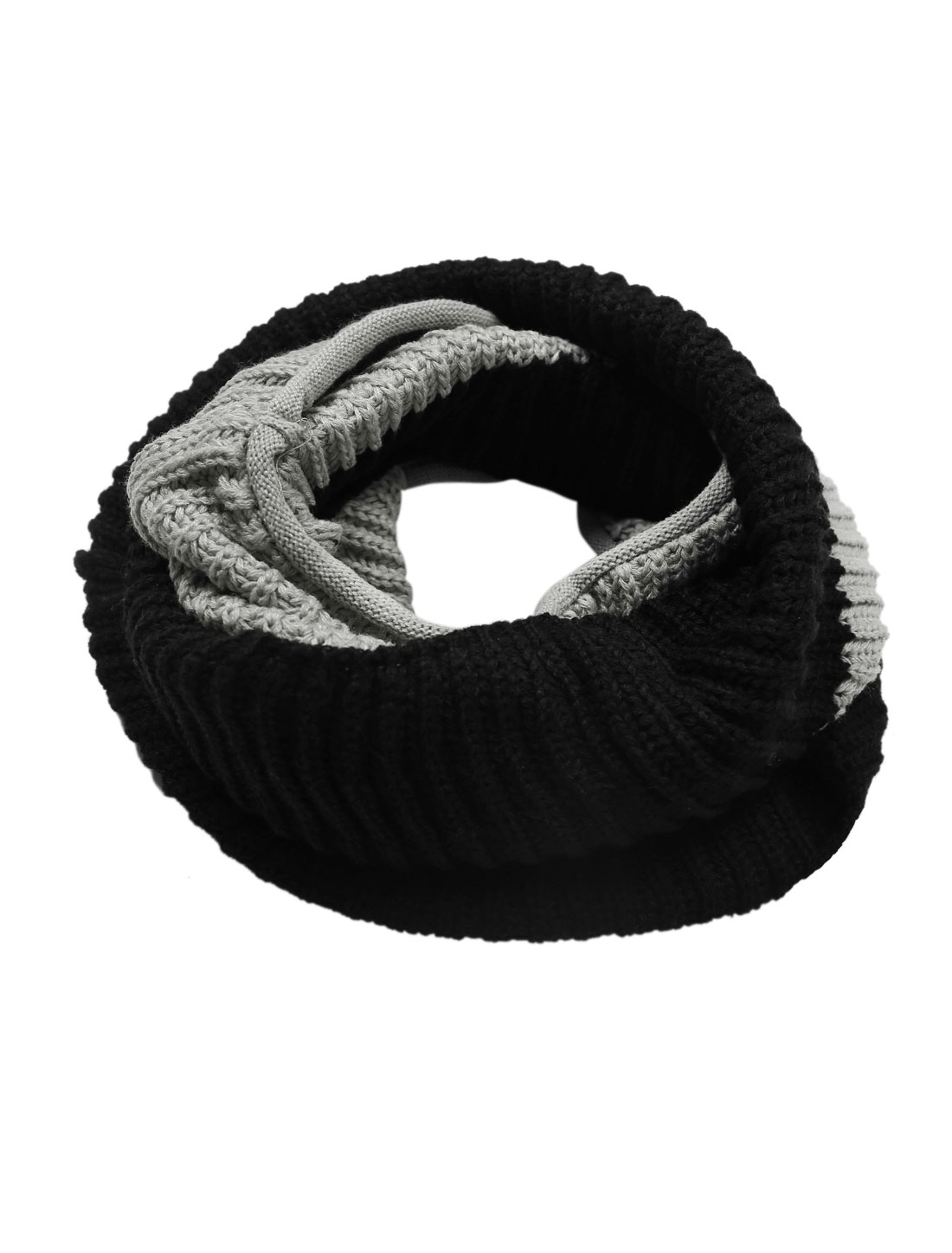 Contrast Color Knitted Casual Neck Warmer for Men Black Gray