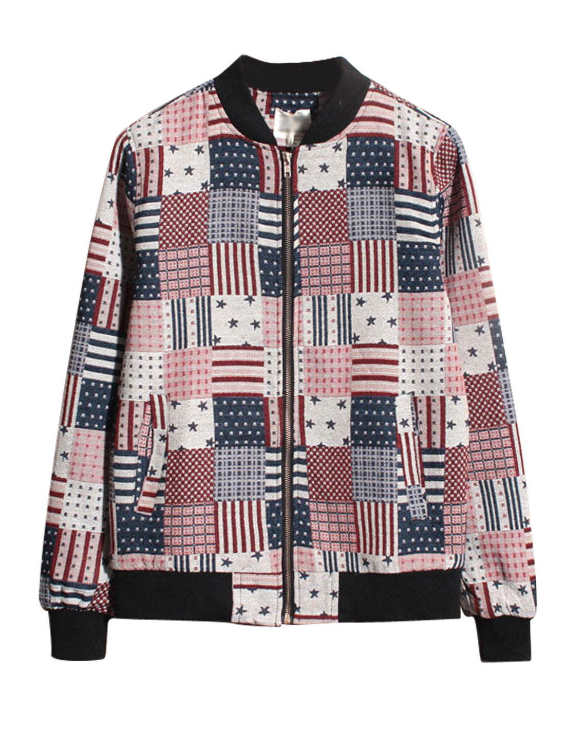 Men Multicolor Zip Up Front Pockets Stars Stripes Plaids Prints Jacket S