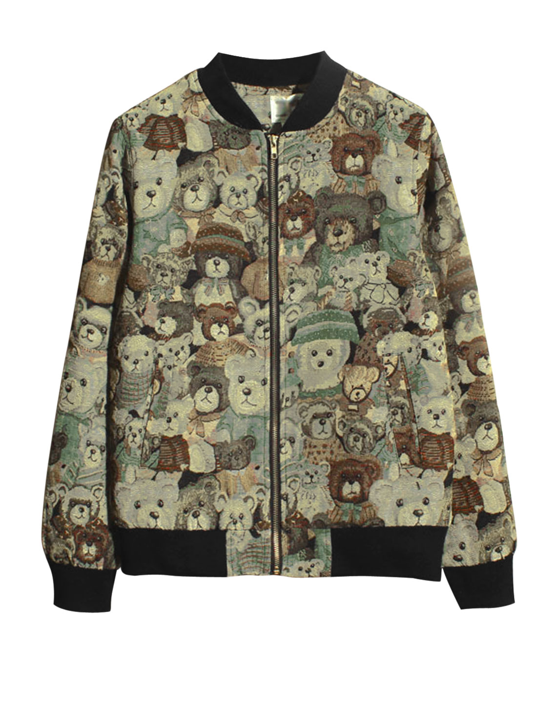 Men Stand Collar Bear Pattern Zip Closure Fashion Jacket Brown S