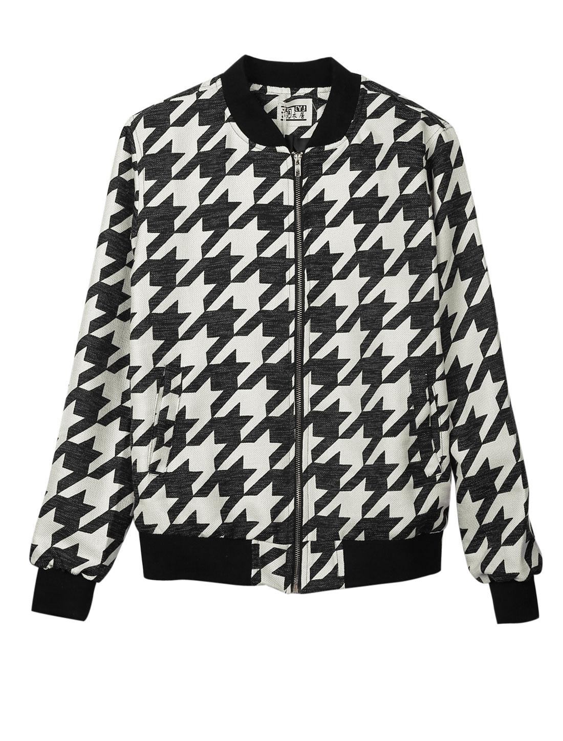 Men Stand Collar Houndstooth Pattern Zip Up Chic Jacket Black Beige S
