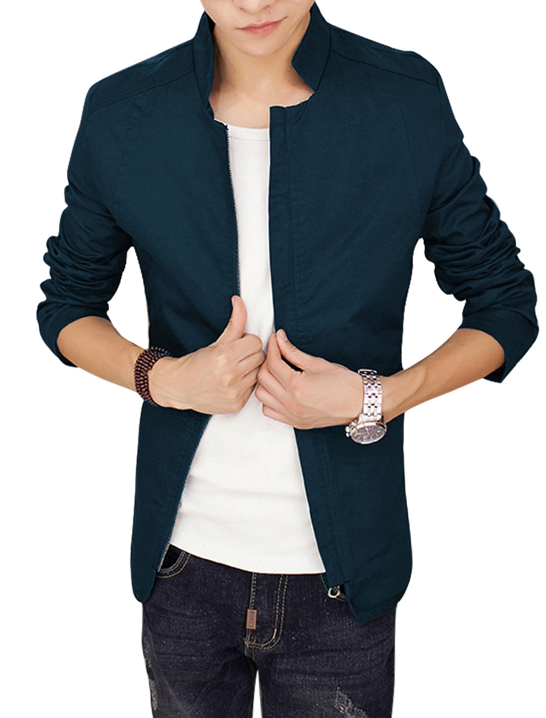 Men Navy Blue Zip Closure Splice Zipper Pockets Slim Fit Leisure Jacket S