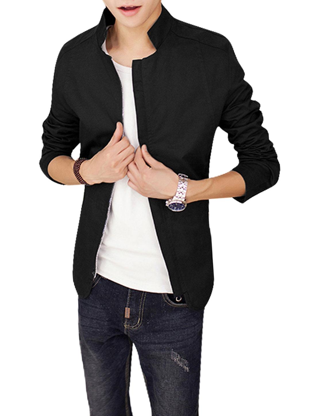 Men Black Zip Down Splice Zipper Pockets Cozy Fit Leisure Jacket S