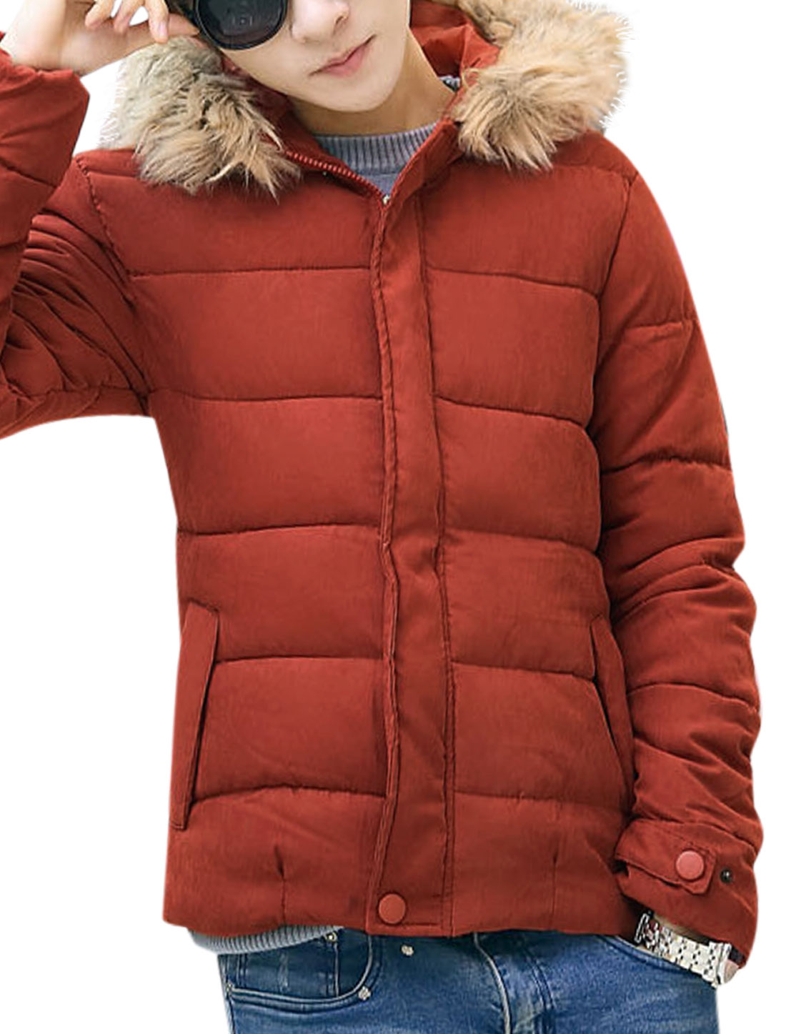 Men Long Sleeves Two Pockets Full Zip Hooded Casual Padded Coat Orange Red M
