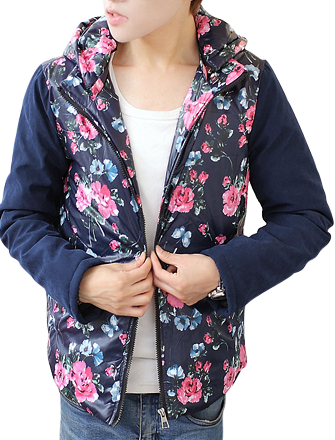 Men Navy Blue Zip Up Floral Prints Front Pockets Splice Hooded Padded Coat M