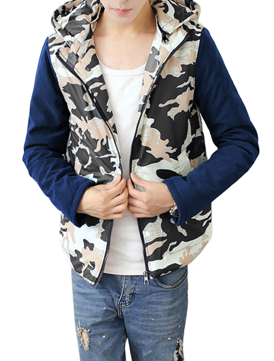 Men Beige Navy Blue Zip Fly Camouflage Prints Detachable Hood Hooded Down Coat M