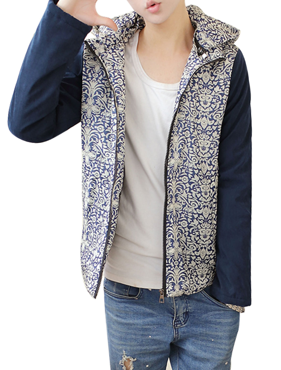 Men Navy Blue Beige Zip Fly Novelty Prints Detachable Hood Splice Hooded Down Coat M