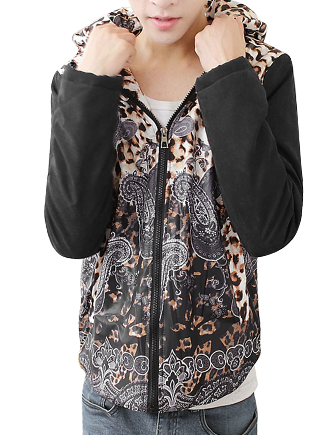 Men Black White Zip Closure Leopard Prints Detachable Hood Splice Hooded Down Coat M