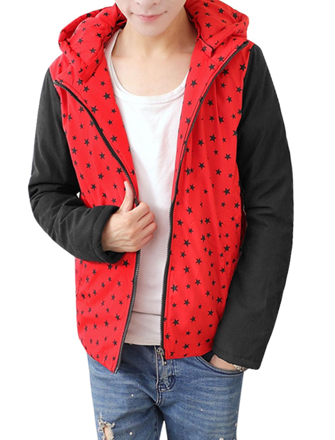 Men Red Zip Fly Stars Prints Detachable Hood Color Block Hooded Down Coat M