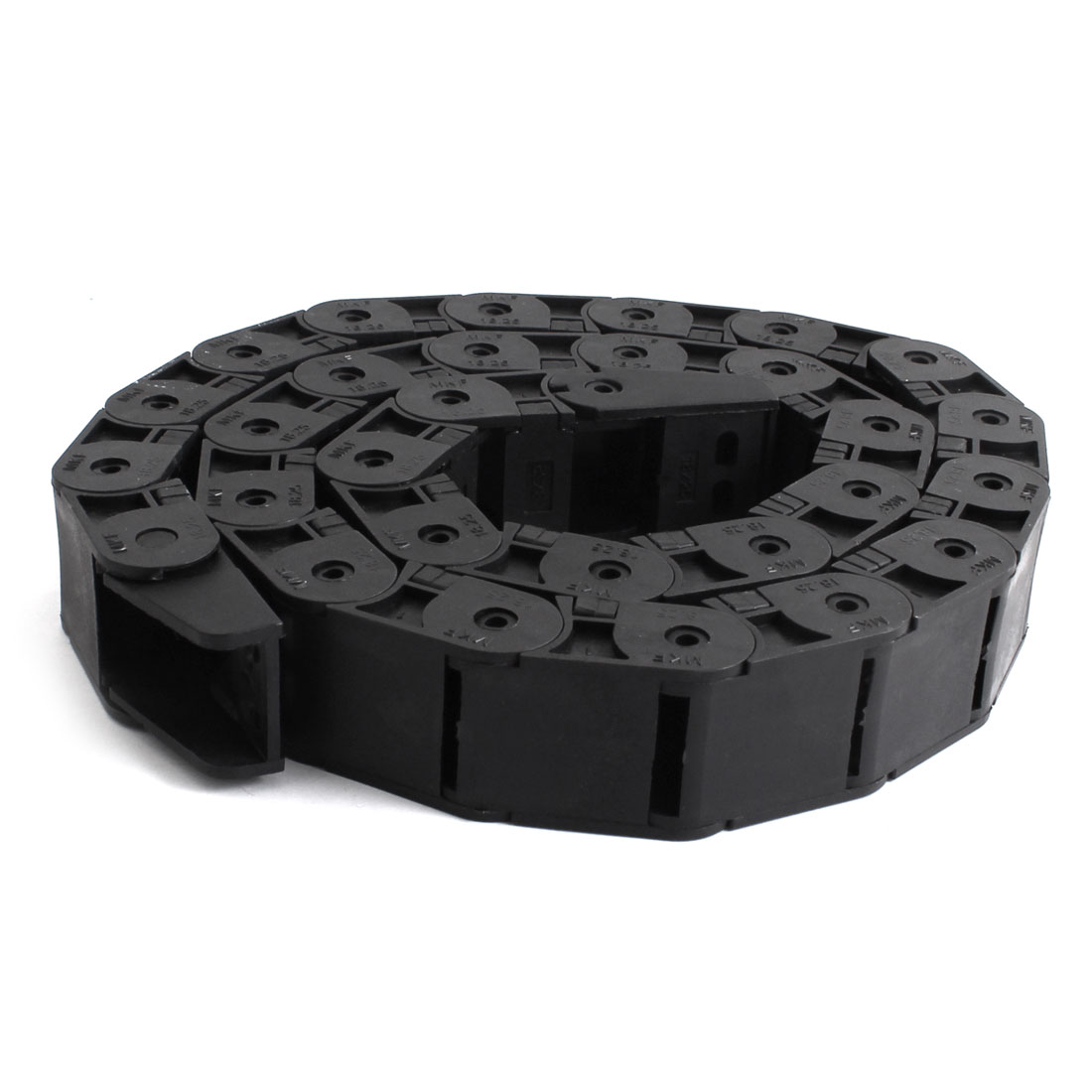 "1m 100cm 40"" Length Open Type Plastic Cable Drag Chain Wire Carrier Nested Black 18mm x 25mm"